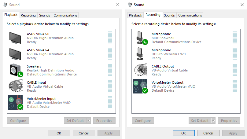 System Audio Dialog Boxes