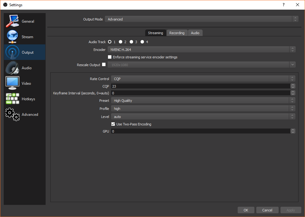 OBS Studio Output Streaming Settings
